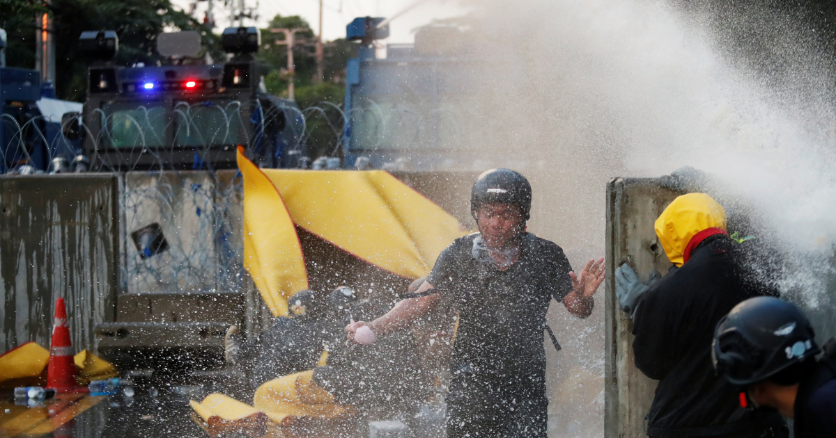 Thai police fire water cannon, tear gas as protest turns violent