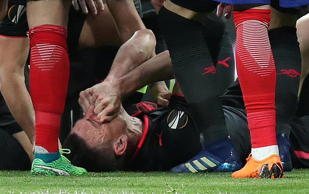 The veteran centre-half suffered a ruptured Achilles in Arsenal's Europa League semi-final against Atletico Madrid