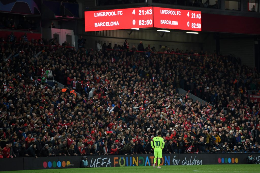 But Lionel Messi saw Liverpool come back to win the second leg at Anfield 4-0